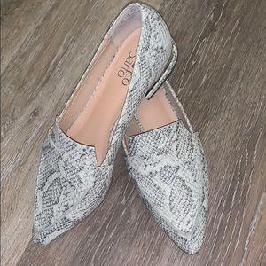 White snake skin loafers